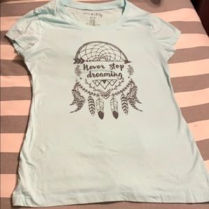 EUC light turquoise tee with dream catcher